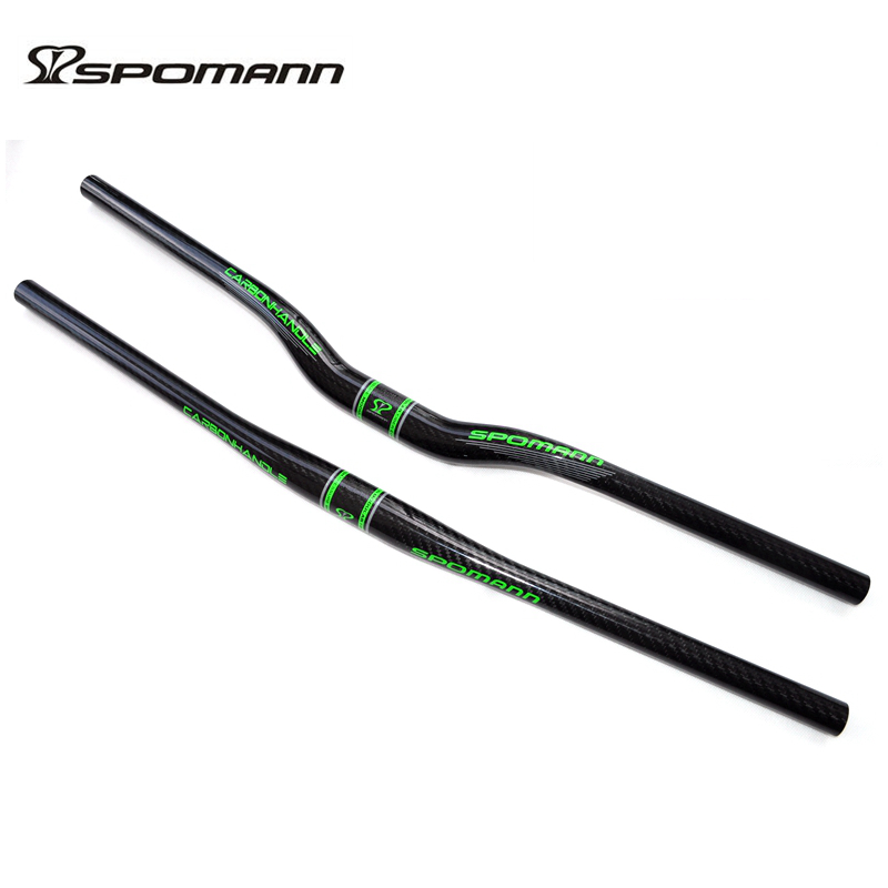 SPOMANN full carbon bicycle handlebar MTB handlebar 31.8 *600-720mm 3k gloss green color mountain road bike handle bar parts
