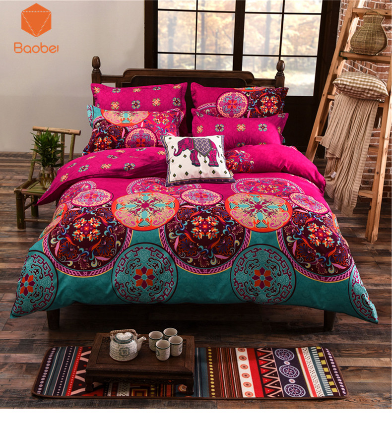 2017 bohemia 3/4Pcs bedding sets Mandala duvet cover set winter Flatbedsheet Pillowcase 48x74cm queen king size Bedlinen sj70