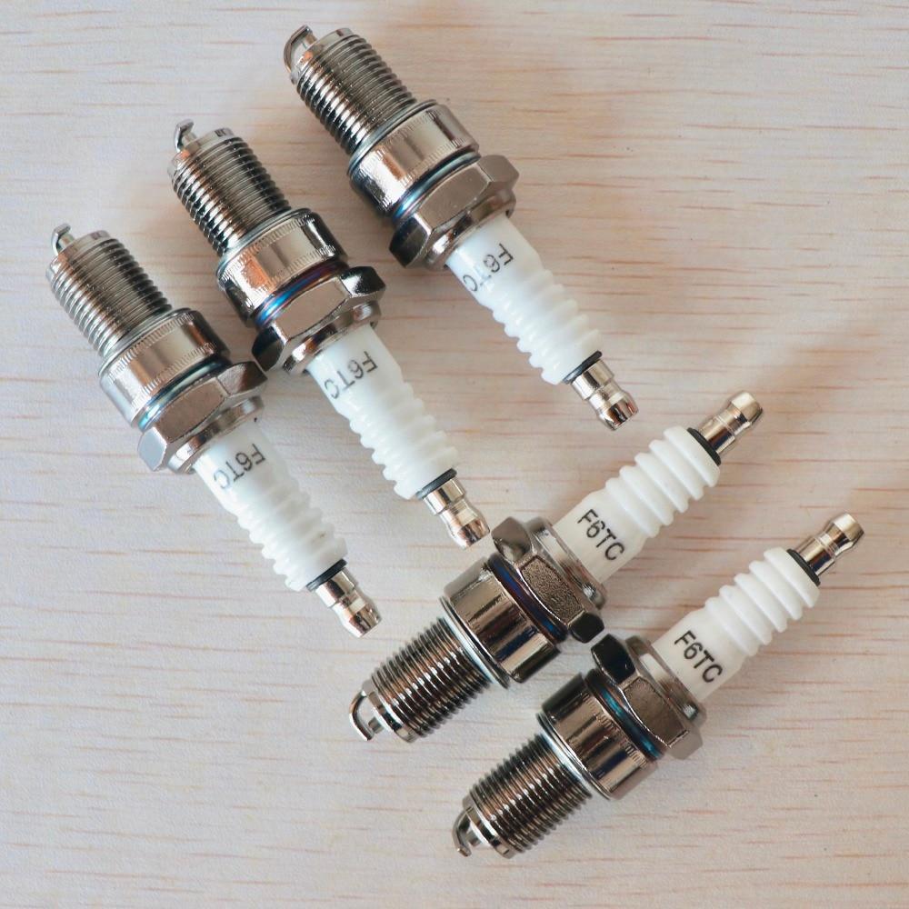 5pcs F6TC spark plugs Fit For HONDA GX390 13HP GX160 GX200 5.5HP 6.5HP Chinese 168 170 188F Engine Motor Generator