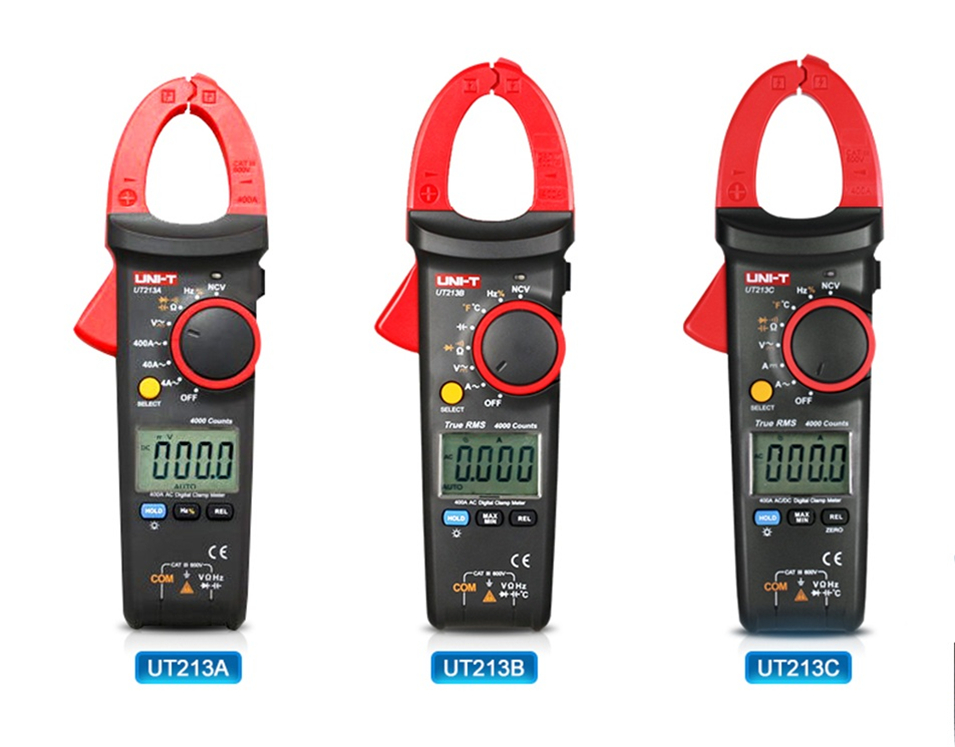 UNI-T UT213A UT213B UT213C Digital LCD Clamp Meter Multimeter AC/DC Voltage Current Resistance Capacitance Diode Continuity NCV digital clamp meter multimeter dc ac voltage current resistance diode continuity tester 33mm jaw opening