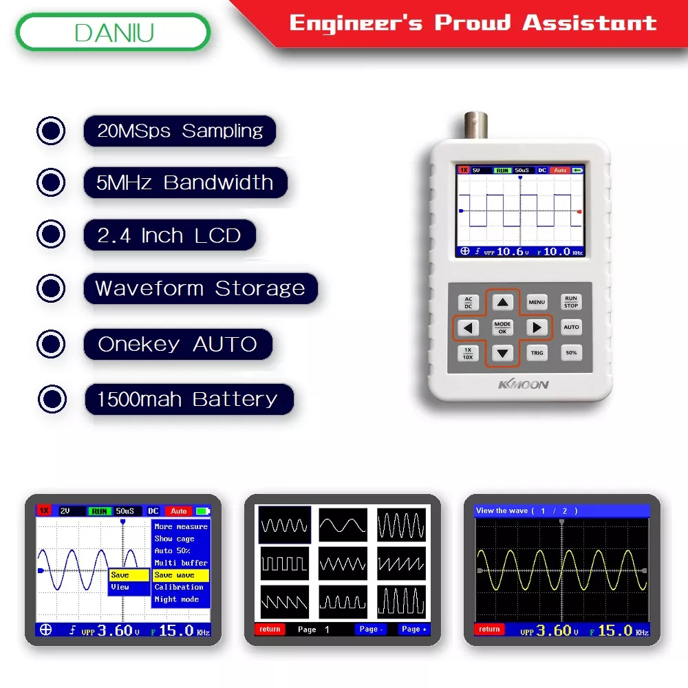 KKmoon DSO FNIRSI PRO Handheld Mini Digital Oscilloscope 5M Bandwidth 20MSps Sampling Rate with P6100 Oscilloscope