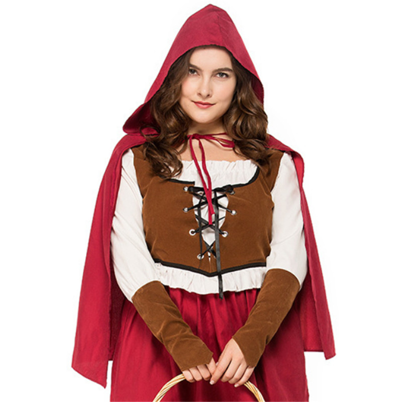 Large size luxurious Little Red Riding Hood Costume Party palace Maid Cosplay Fantasia Dress+Cloak Halloween Costume for Women