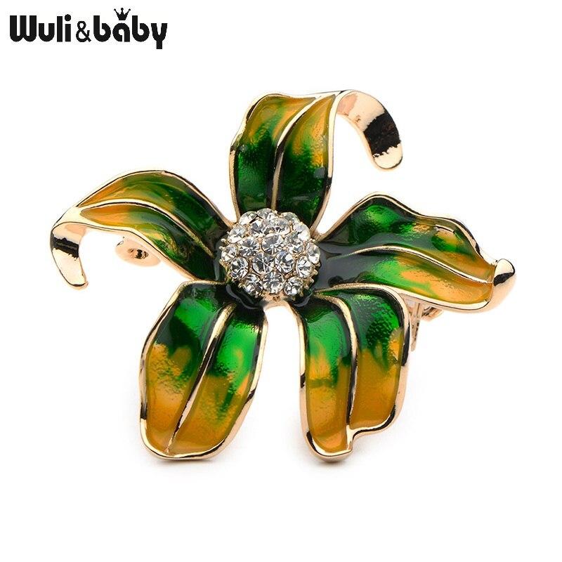 Wuli&Baby, сплав, стразы, зелёная, красная эмаль, цветок баугиния, модные броши для женщин и мужчин, цветок, брошь для свадеб, банкета