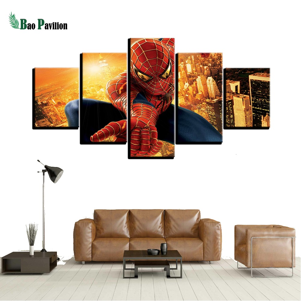 Modern On The Wall Art Modular Pictures 5 Panel Movie Spider Man For Living Room Home Decor Abstract Painting On Canvas in Painting Calligraphy from Home Garden
