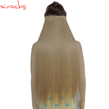 5piece/Lot X Synthetic Clip in Hair Extensions 28inch Length Straight Hairpiece 5 Clips Matte Fiber Gamboge Color 25