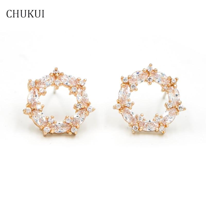 Fashion Silver 925 Stud Earrings Women Round Push Back Gold Flower Trendy Ladies Zircon New Jewelry Circle Pendientes Korean
