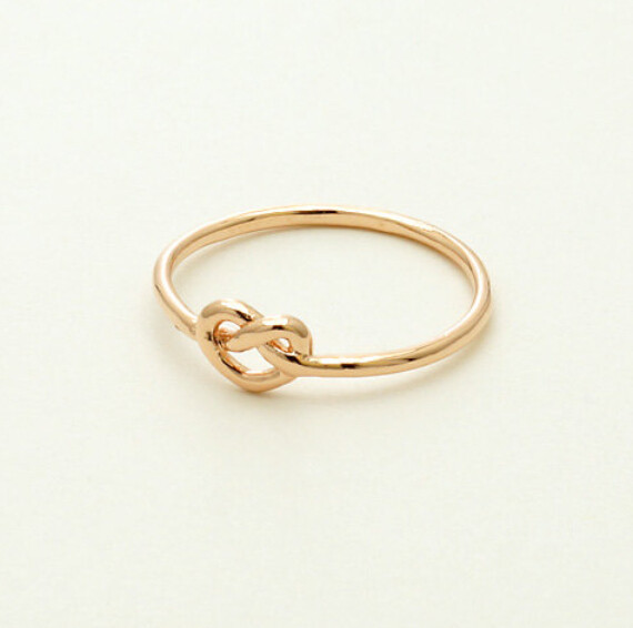 Gold Color silver simple fashion handmade heart shaped ring
