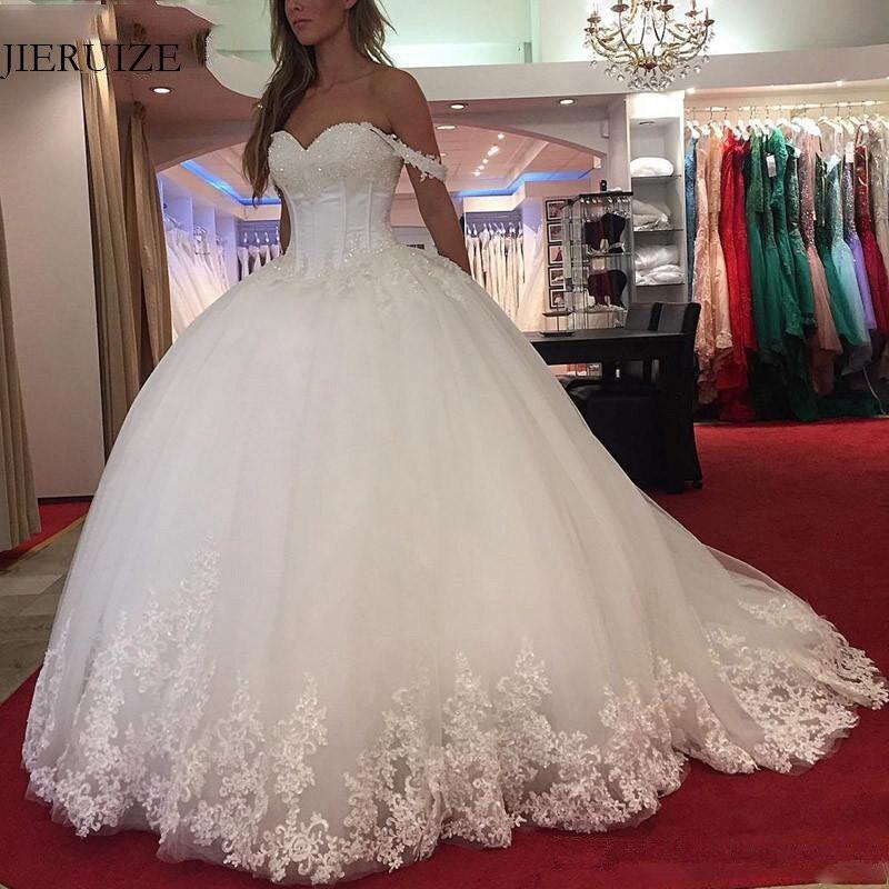 JIERUIZE White Lace Appliques Ball Gown Princess Wedding Dresses Off The Shoulder Beading Bride Dresses Wedding
