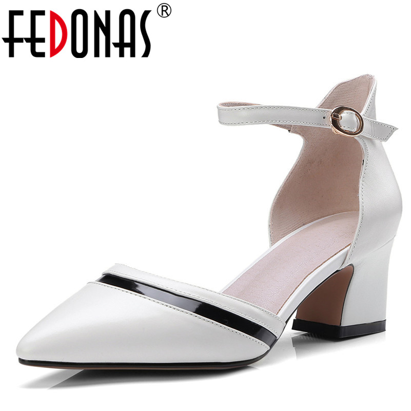 FEDONAS New 2018 Women Pumps Fashion Thick High Heels Single Shoes New Spring Summer Genuine Leather Party Wedding Shoes Woman morazora fashion 2017 women pumps thick heels platform spring single shoes woman high heels round toe party wedding shoes