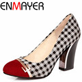 ENMAYER Women's Pumps New Autumn High-heeled Shoes Sexy Retro Platform 8cm Princess Thin Heels Single Shoes Hot Sale Big Size