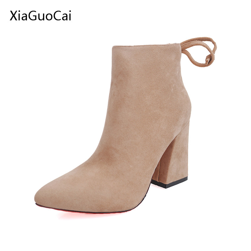 2016 womens pointed toe spring and autumn boots grey thick heels sexy boots for women Suede high heels x980 35 egonery quality pointed toe ankle thick high heels womens boots spring autumn suede nubuck zipper ladies shoes plus size