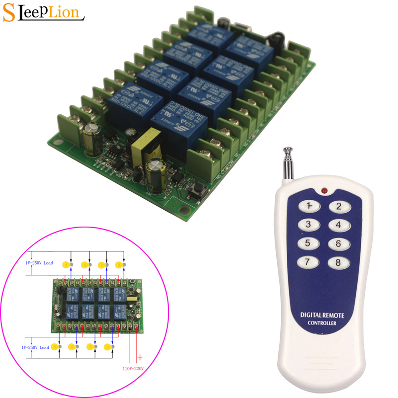 433MHz 8CH RF Wireless Remote Control Transmitter Receiver for TV Monitor NEW