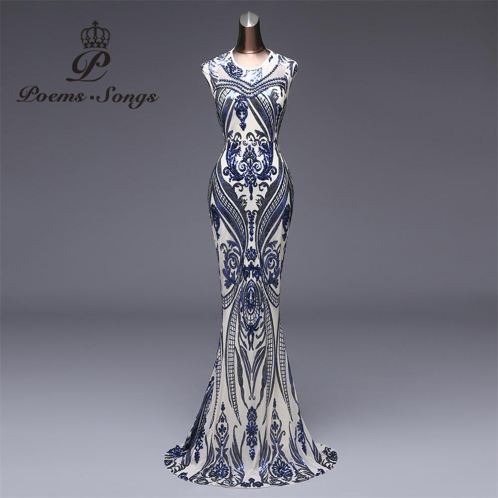 Poems Songs 2019 new Elegant blue Sequin Evening Dress vestido de festa Formal Party dress Long