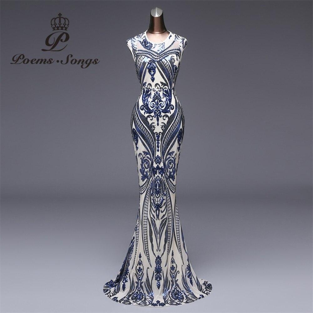 Стихи песни 2018 новый элегантный синий блесток вечернее платье vestido de festa официальная Вечеринка Длинные платье с блестками longue Пром платья