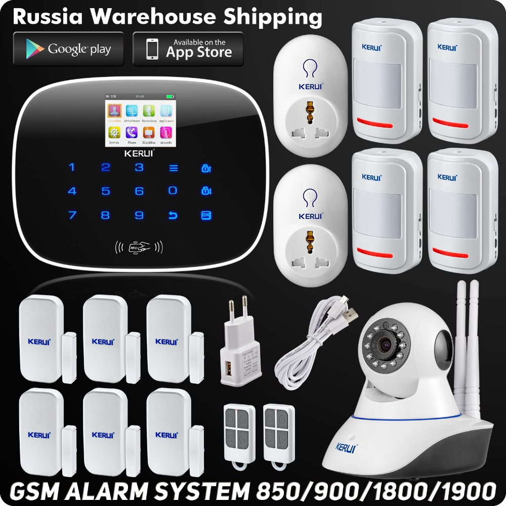 Wireless Kerui G19 IOS Android APP Remote Control GSM SMS Home Alarm System Security Burglar Smart Socket Wireless PIR Detector kerui w2 wifi gsm home burglar security alarm system ios android app control used with ip camera pir detector door sensor