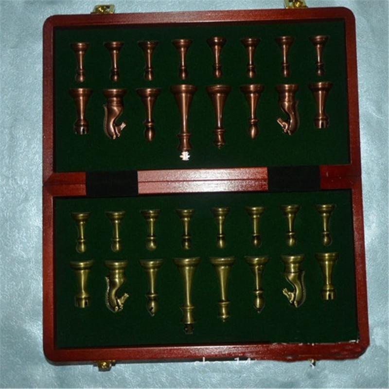 Haut de gamme en bois échiquier pliant rétro métal alliage pièces d'échecs jeu d'échecs 30*30*2.7 cm échiquier amis cadeau