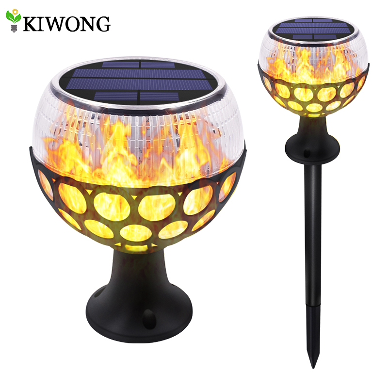 Solar Path Torch Light Dancing Flame Lighting 12 LED Waterproof Flickering Lamp