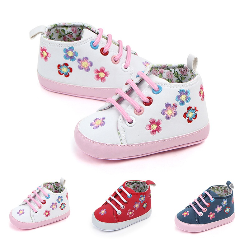 Spring Autumn Newborn Shoes Baby Girls Flower Print PU First Walkers Lace-Up Soft Sole Walking Shoes For Newborn New