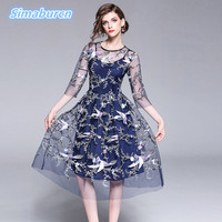 High Quality Blue Dress Summer Women Embroidery Mesh Hollow Out Sexy Dress Casual 3/4 Sleeve Slim A Line Femme Club Dresses