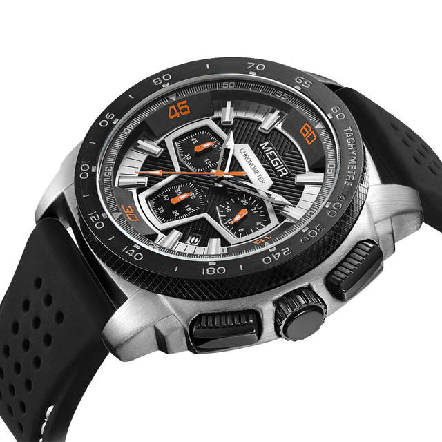 MEGIR Men's Casual Watch Silicone Band Waterproof Military Chronograph Sport Watch  Men Jewelry