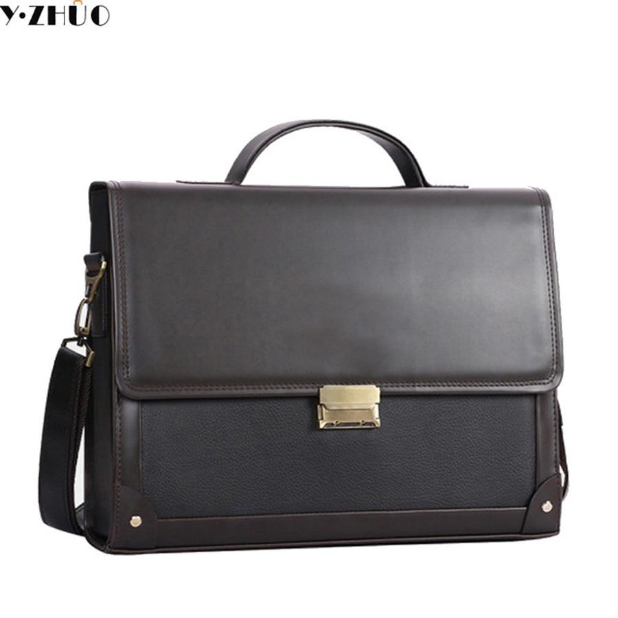 ФОТО brand leather briefcase business man handbags tote men messenger shoulder bag Combination lock men crossbody Laptop bag