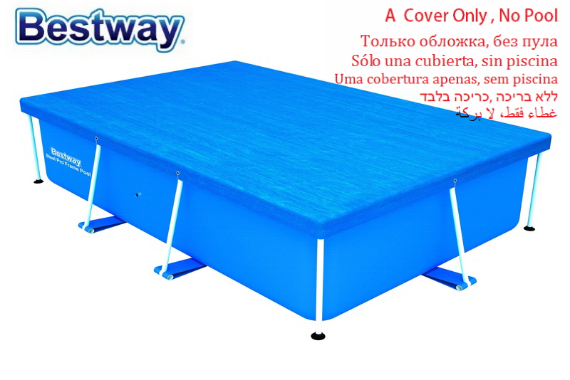 58105 Bestway 264x174cm Pool Cover With Binding Ropes For 259x170cm Swimming Pool Dust-proof Lid For Rectangular Frame Pool