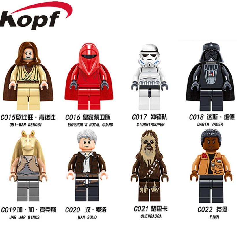 все цены на Building Blocks Single Sale Stormtooper Darth Vader Chewbacca Finn Jar Jar Binks Han Solo Super Hereos Children Toys C015-022 онлайн