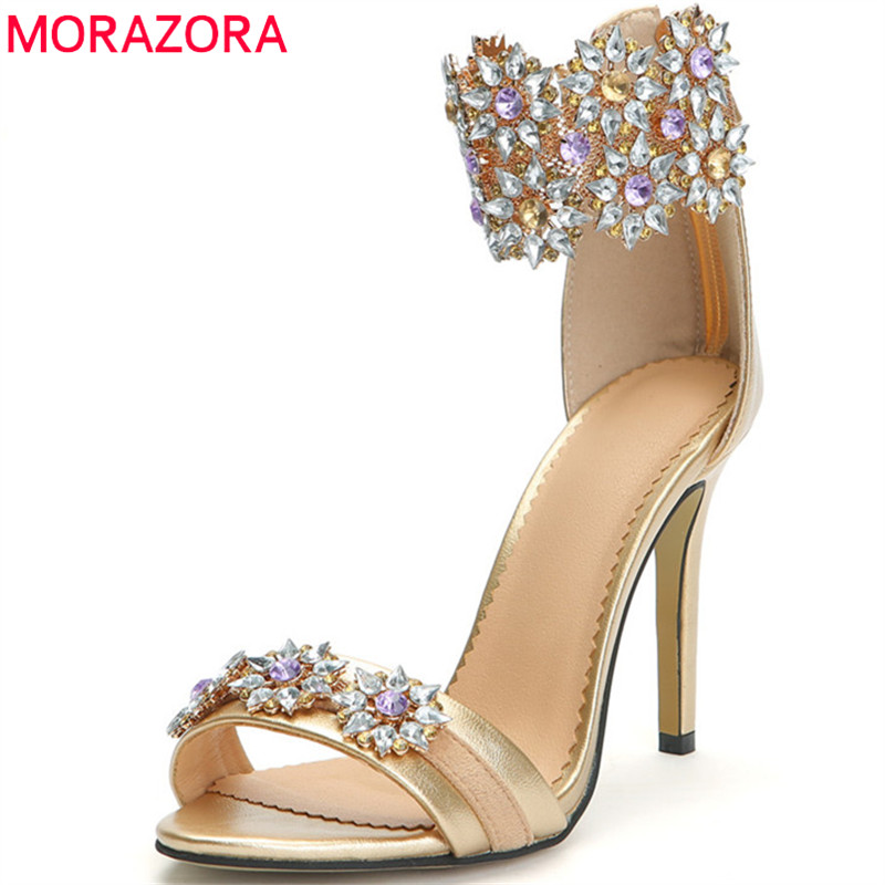 MORAZORA 2019 new arrival women sandals simple zip sexy super high heels shoes fashion crystal summer party wedding shoes womanMORAZORA 2019 new arrival women sandals simple zip sexy super high heels shoes fashion crystal summer party wedding shoes woman