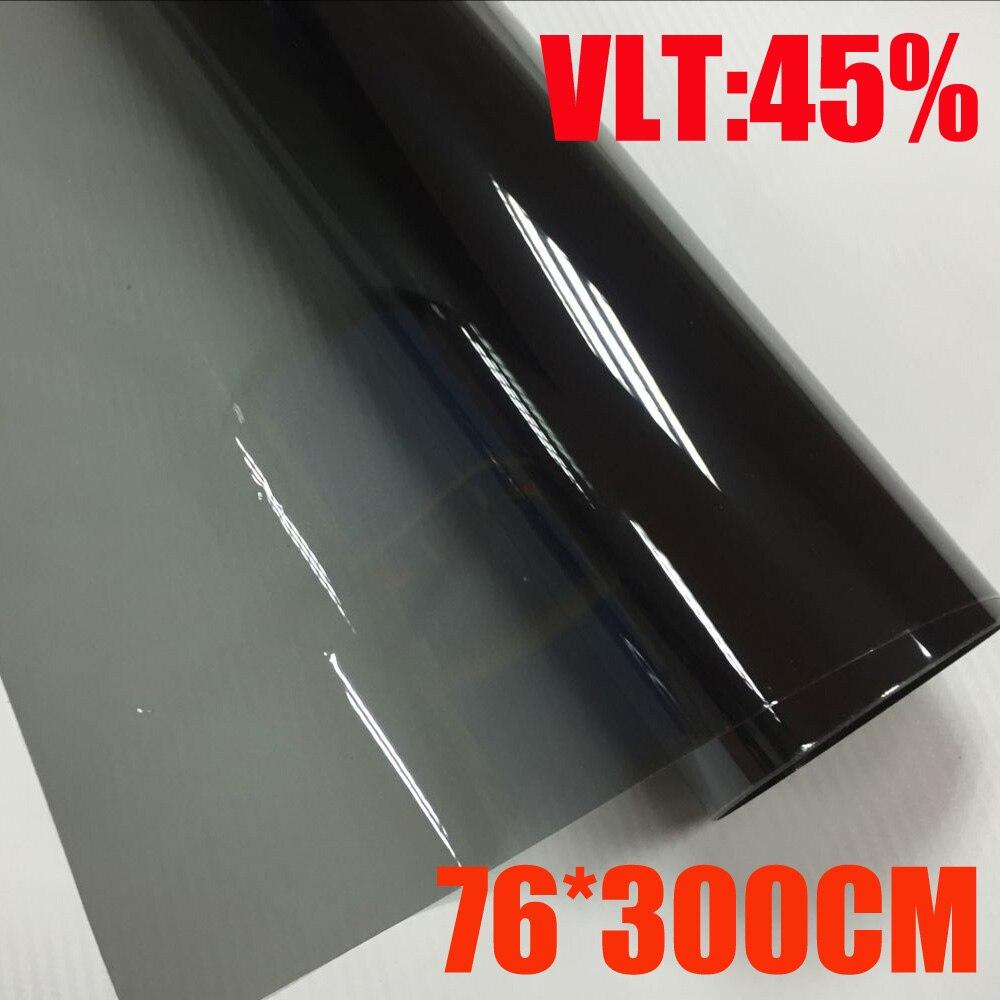 VLT 45% 76 cm x 300 cm/rouleau lumière noir voiture fenêtre teinte Film verre 1 pli voiture Auto maison commerciale Protection solaire été