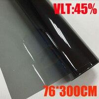 VLT 45% 76cmx300cm/Roll Light Black Car Window Tint Film Glass 1 PLY Car Auto House Commercial Solar Protection Summer