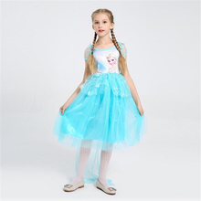 Hot Sale Girls Elsa Princess Costume Halloween Carnival Party Christmas Performace Kids Cosplay Children Dress