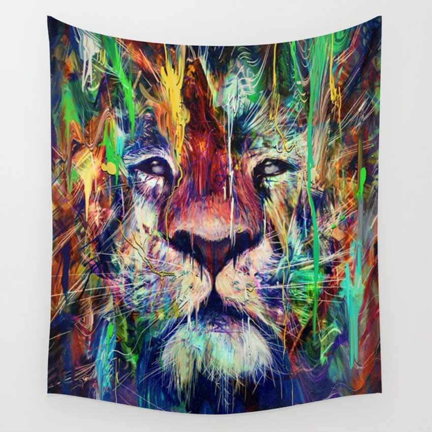CAMMITEVER Lion Vogelperspektive Floral Astronauten Wandteppiche Bunte Psychedelic Indian Tapisserie Wandbehang Gedruckt Dekoration