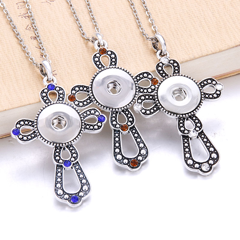 New Cross Faith Snap Button Necklace with Chians Vintage Metal Snap Pendant Necklace fit 18mm 20mm Snap Button Jewelry For Women snap button jewelry
