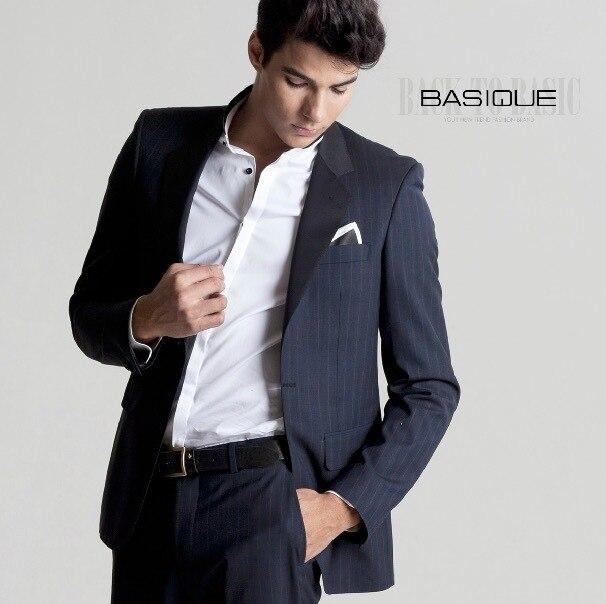 BASIQUE высокое качество 2015 весна осень мужчины 100% шерсть полоса тонкий формальный синий бизнес свадьба вернуться щелевая жених костюмы пиджаки