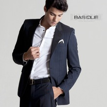 BASIQUE high quality 2015 spring autumn men 100% wool stripe slim formal blue business wedding back slit groom suits blazers