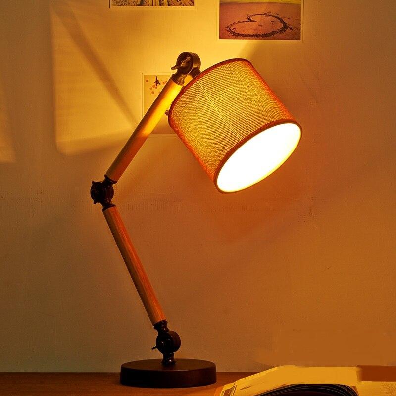 A1 Новый Лофт исследования лампы творческой личности настольная лампа настольная оригинальный американский Белье деревянный Спальня прикр...