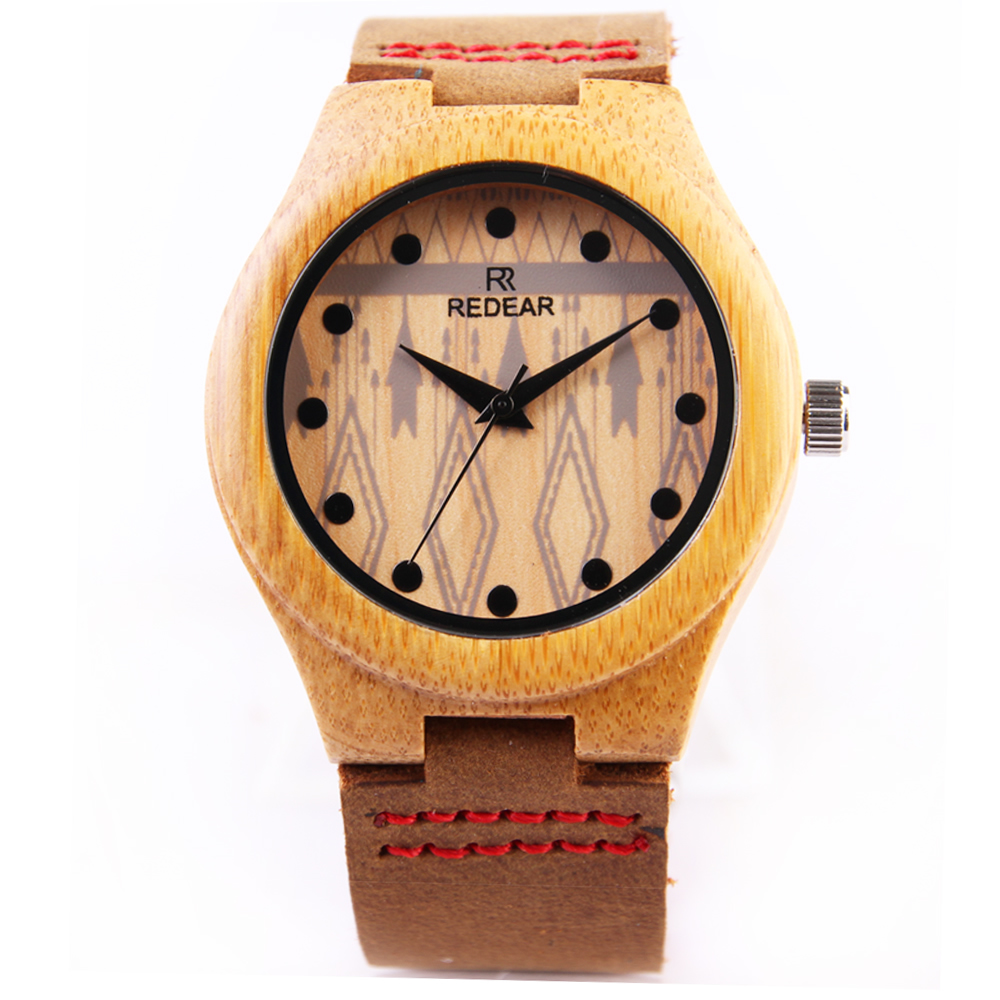 2017 High Quality Top Brand Luxury Bamboo Watch Men Wooden Quartz Watches Genuine Cowhide Leather Band Wristwatch For Mens Gift