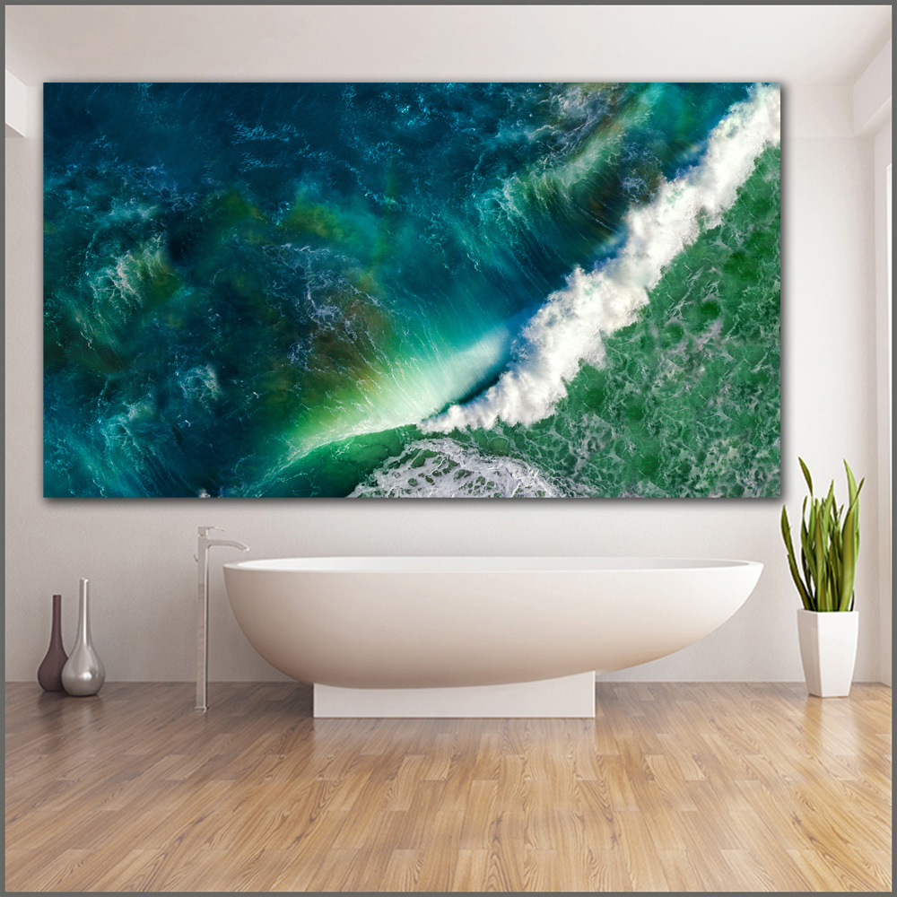 Large size Printing Oil Painting waves sea ocean stock wall art canvas print pictures for living room and bedroom No Frames