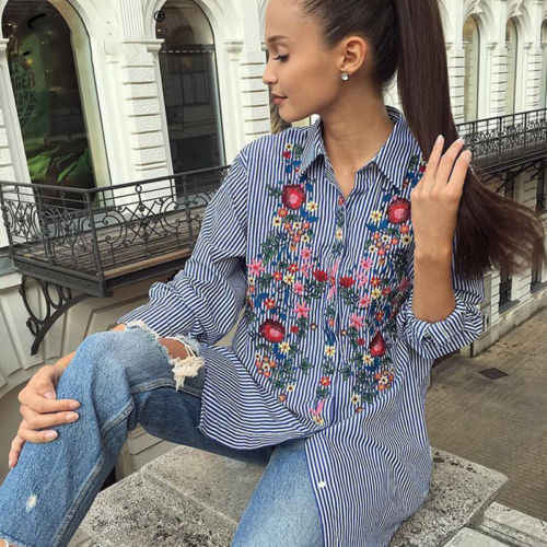 Women Floral Embroidered Casual Shirts Spring Long Sleeve Striped Shirt Tops Women Casual Turn Down Neck Shirts
