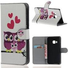 Encantador dos desenhos animados da família da coruja impressão colorida Wallet Leather Flip fique Pouch Case capa para HTC One M9 telefone 2015