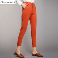 Jesień Ołówek Spodnie W Połowie Pasa Kieszeni Solid Black Pomarańczowy Nieregularne Odzież damska Wiosna Spodnie Hem Plus Size 4XL 3XL 2XL XL