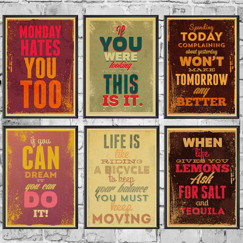 Inspirational quotes Retro poster Home decoration Kraft Poster Painting Wall stickers