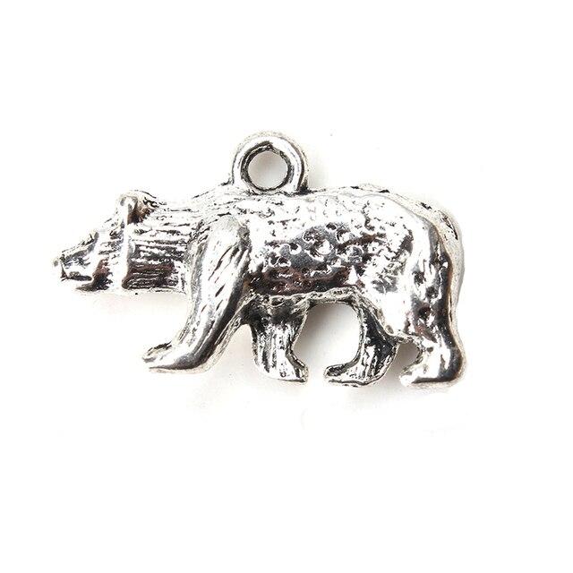 10 piezas/lote oso marrón encanto tono plata antigua para DIY collar accesorios para mujeres encanto joyería accesorios 25mm x 17mm