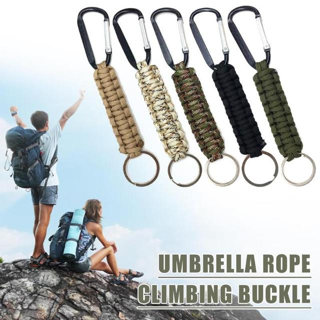 Safety Survival Gear Tactical Military Strand Cord Parachute Rope Keyring Carabiner Kits Lanyard Keychain Outdoor Tools Random 3