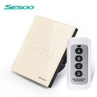 SESOO EU UK Touch Switch 110 240v 3 Gang 1 Waterproof Crystal Toughened Glass Panel LED