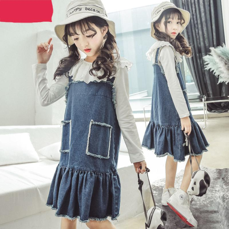 2018 Girls Clothing Set 6 7 8 9 10 11 12 14 Years Spring School Clothes T shirts + Denim Dress 2pcs Suit Roupas Infantis Menina