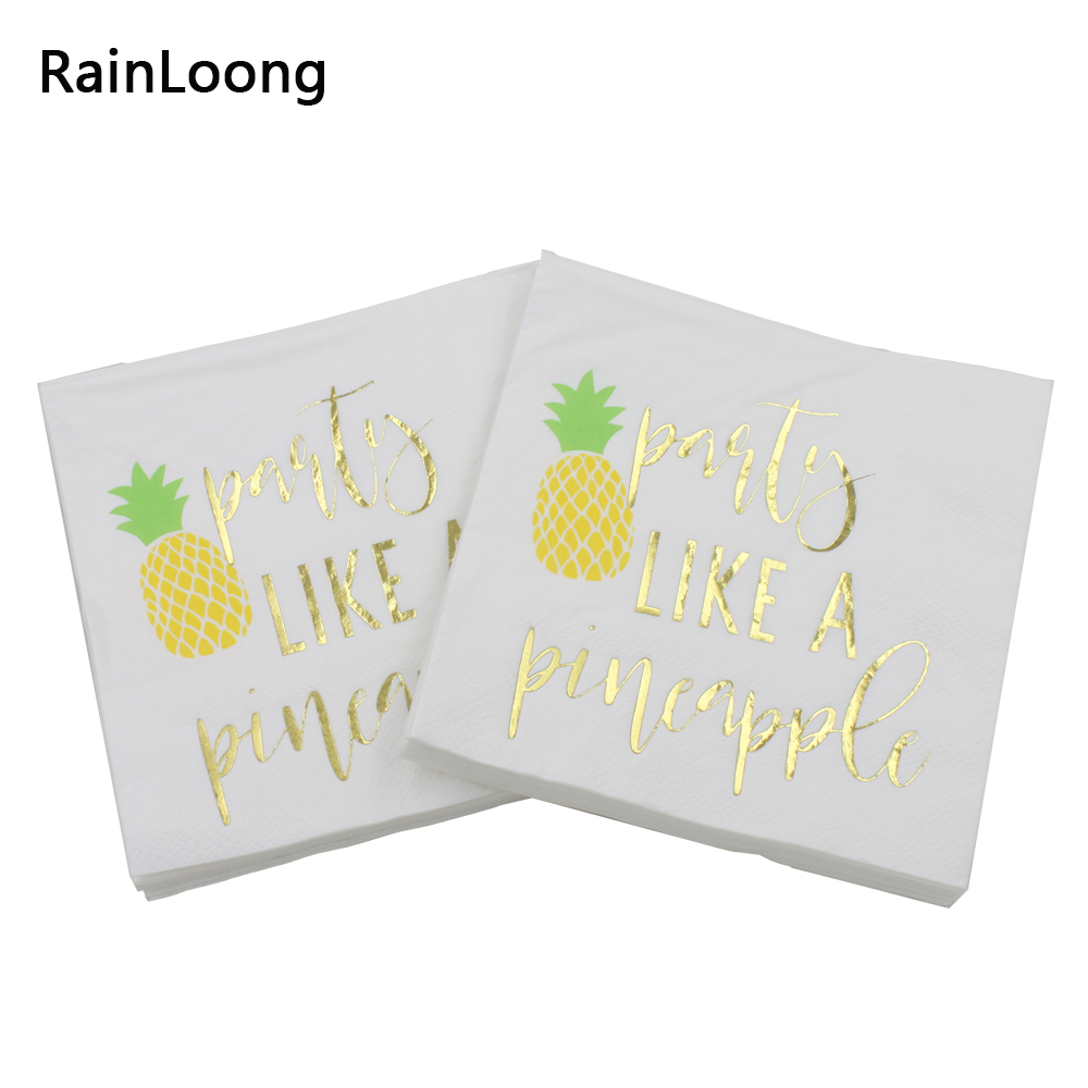 [RainLoong] 3-Plys Foil Gold Beverage Paper Napkins Party Like A Pineapple For Party Decoration Supply Tissue Serviettes 25*25cm