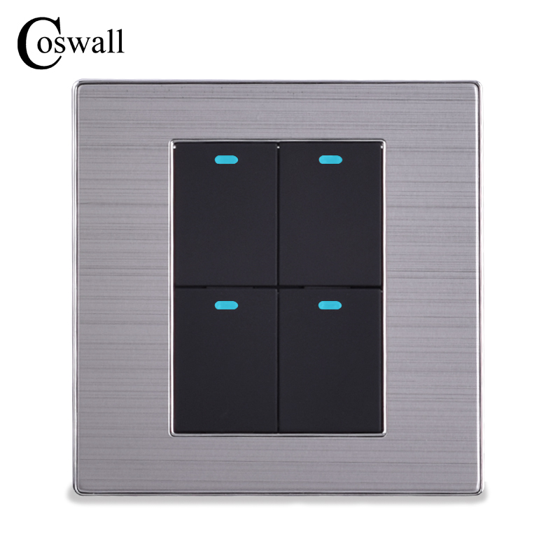 COSWALL Power Conmutador 4 Gang 2 Way Luxury LED Light Switch Push Button Wall Switch Brushed Silver Panel 10A AC 110~250V krst luxury led lighting switch 2 gang 1 way 2 ways n ways push button wall switches ac 250v 10a 86x86mm popular