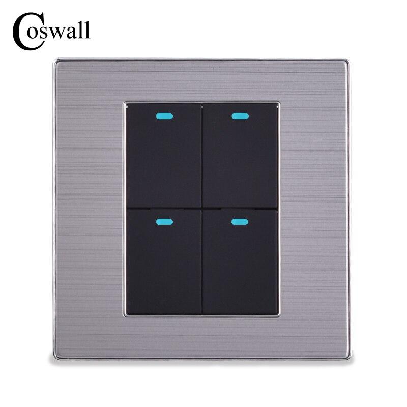 COSWALL Power Conmutador 4 Gang 2 Way Luxus LED-Licht schalter Taster Wandschalter Gebürstet Silber Panel 10A AC 110 ~ 250 V