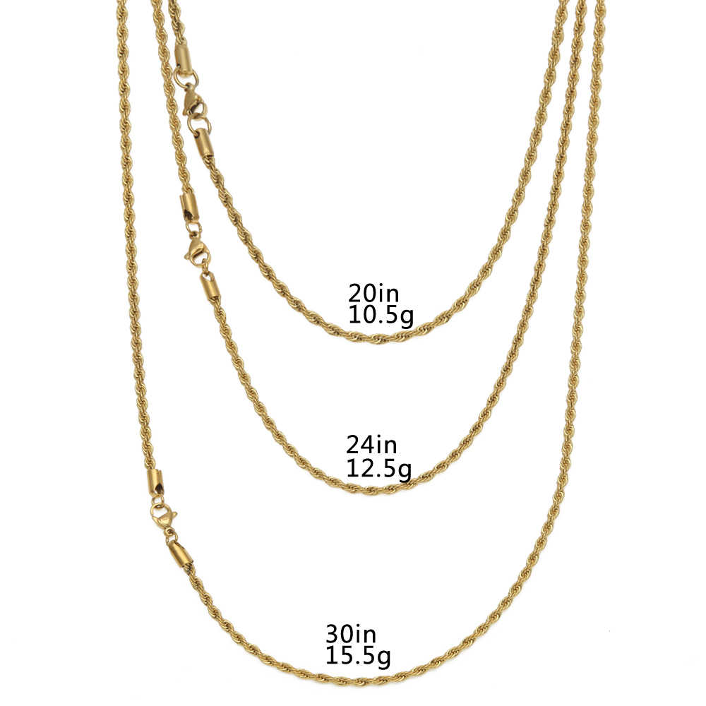TBTK Golden Silver Rose Gold Rope Chain Simple Style Metal Trendy Link Unisex Punk Necklace